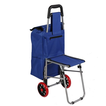 0ab94eec15ab KARMAS PRODUCT Folding Shopping Cart with Seat Collapsible Dolly Grocery  Carts Trolley with Blue Bag