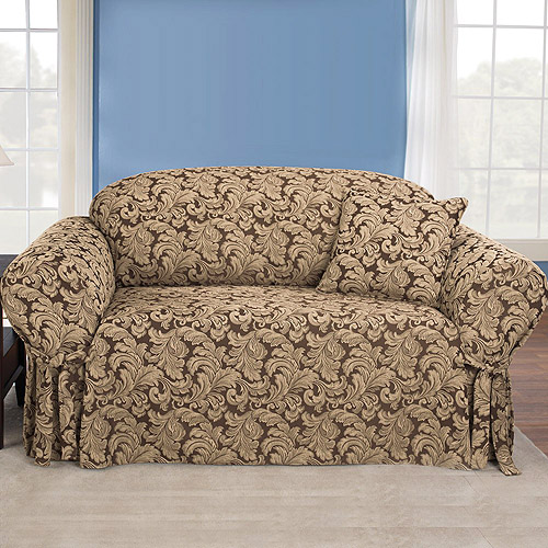 Charming Sure Fit Scroll Brown Sofa Slipcover