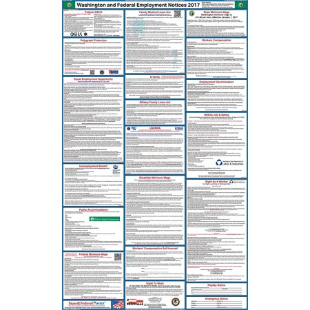 2017 Washington State And Federal Labor Law Poster  Laminated