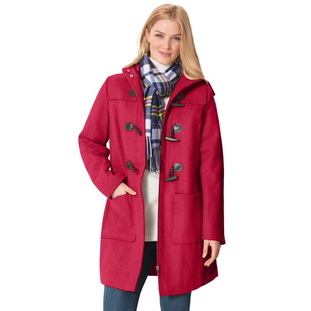 Classic Duffle Coat 32 W Red, Red Trench Coat Women S Plus Size