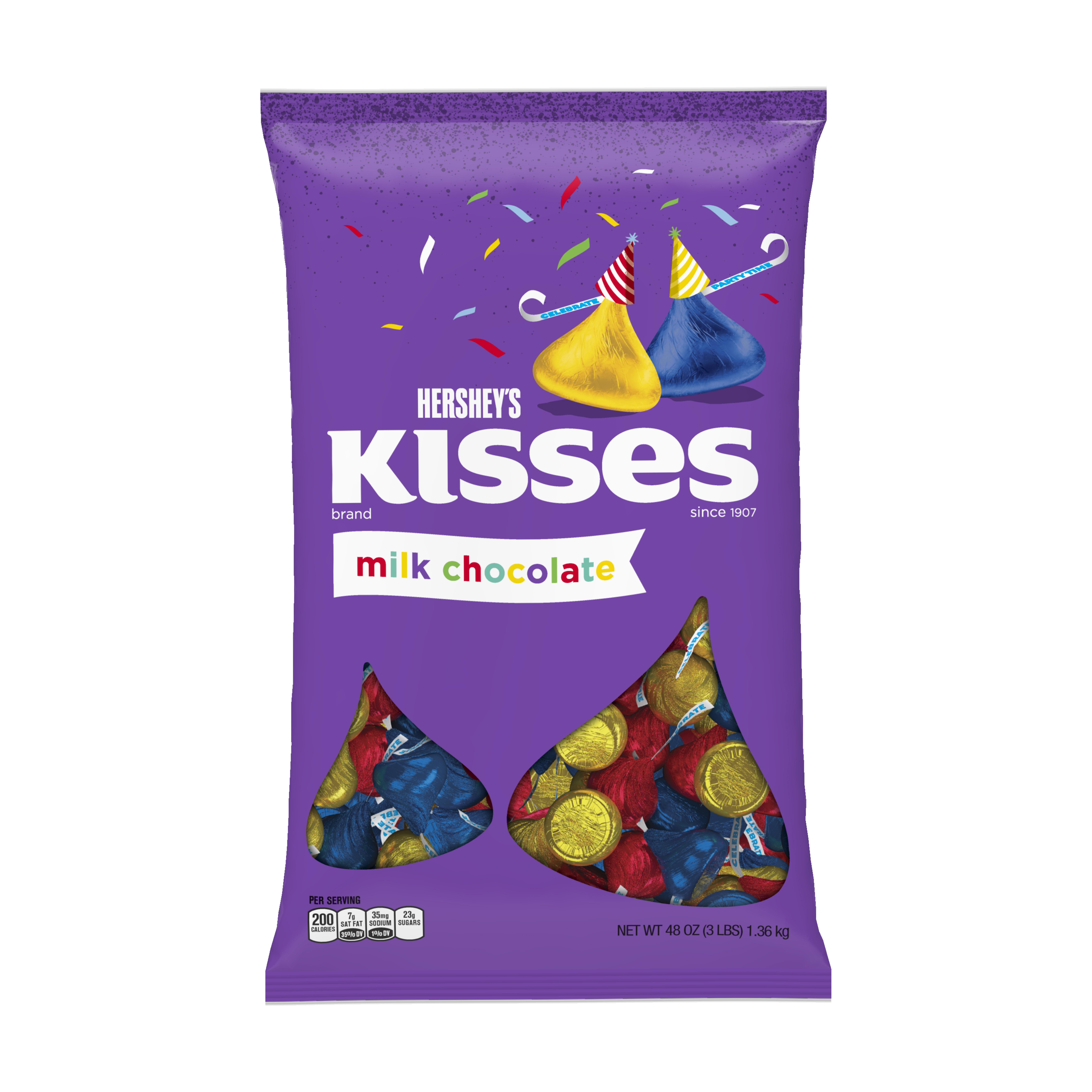 Kisses, Birthday Milk Chocolates Candy, 48 Oz