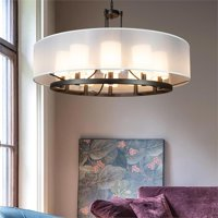 Fresno Modern Drum Chandelier Overhead Light Fixture with 10 Light Bulb Support and White Fabric Shade, Beautiful Hanging Lighting for Foyer, Living or Dining Room Use