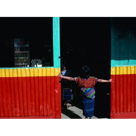 Girl Standing in Market Doorway, Santa Maria De Jesus, Guatemala Print Wall Art By Jeffrey Becom