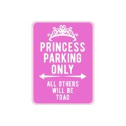 """American Wit Quality Metal Signs, Princess Parking Only, Funny Novelty High Grade Aluminum Sign for Home Driveway Girls Kids Bedroom Decoration, Pink Design, 12"""" x 9"""""""