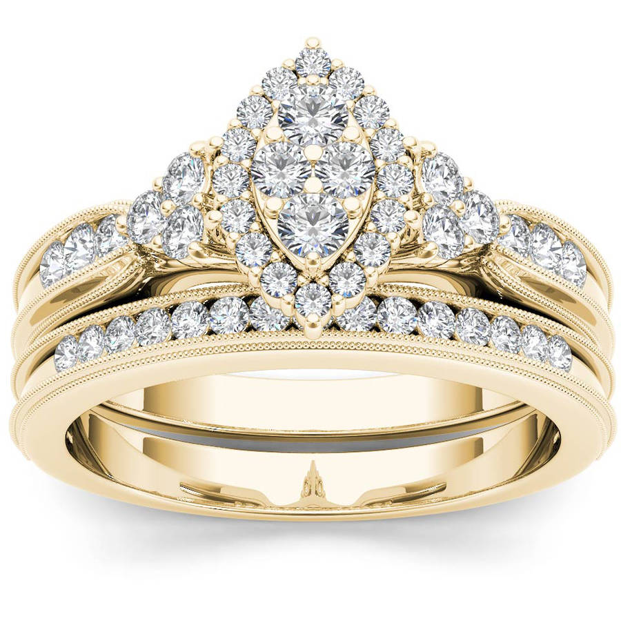 Imperial 1/2 Carat T.W. Diamond Marquise Framed Cluster 10kt Yellow Gold Engagement Ring Set