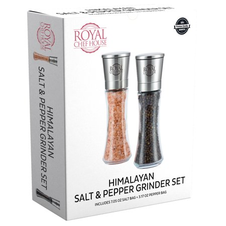 Royal Chef House Himalayan Salt And Pepper Grinder Set With Ceramic Blades - Premium Glass And Stainless Steel Salt Mill And Pepper Mill + Pre-Filled With Salt And Pepper + 1 Salt Refill Bag And 1 Pepper Refill