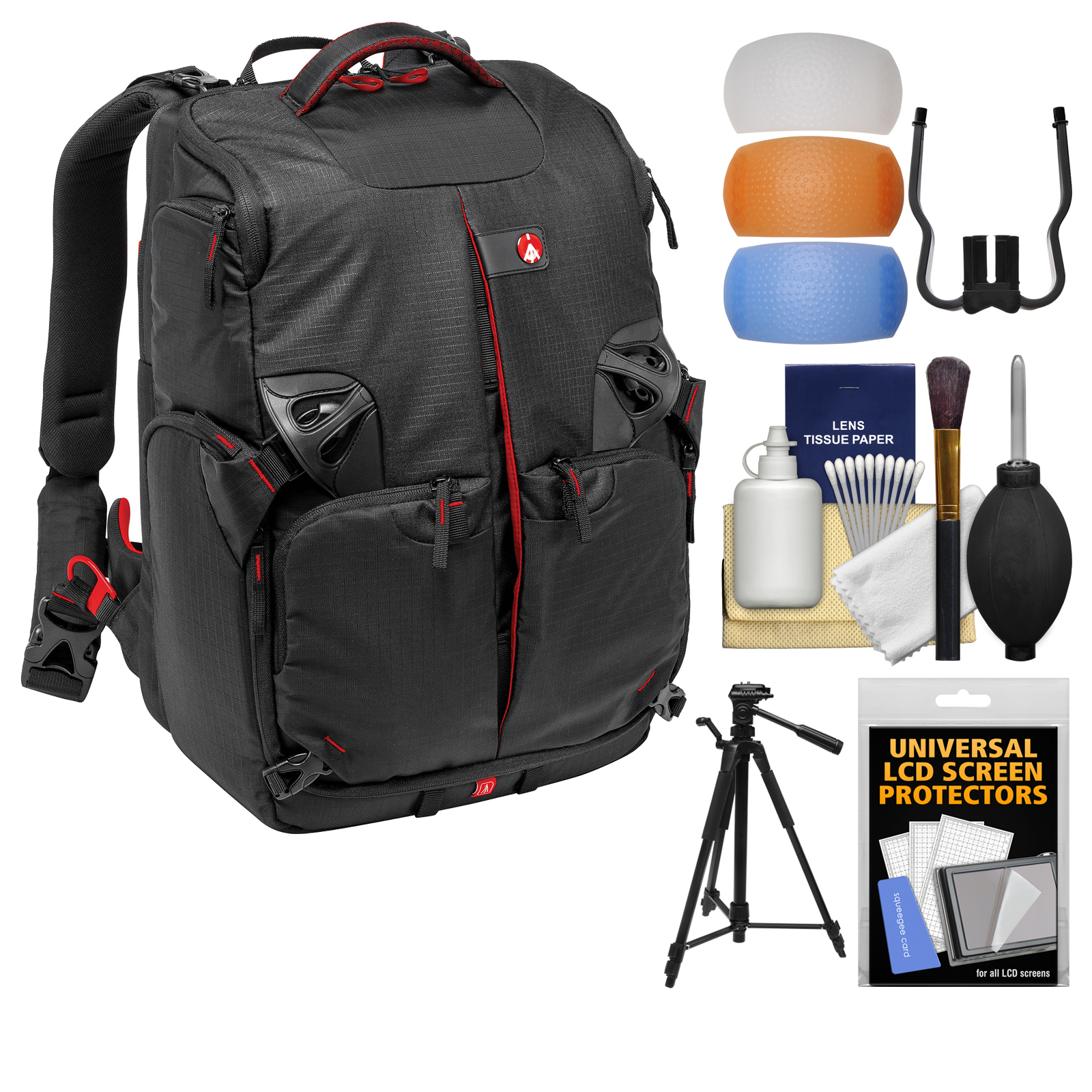 """Manfrotto Pro Light 3N1-35 PL Digital SLR Camera Sling Backpack with 58"""" Tripod + DSLR Diffusers & Cleaning Kit"""