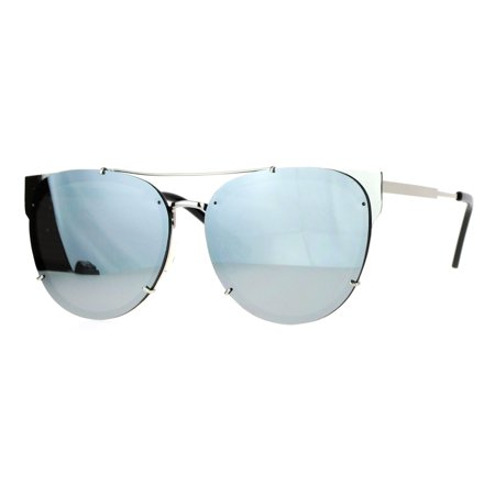 SA106 Retro Flat Lens Unique Raw Edge Metal Horn Rim Sunglasses Silver (Row Sunglasses)