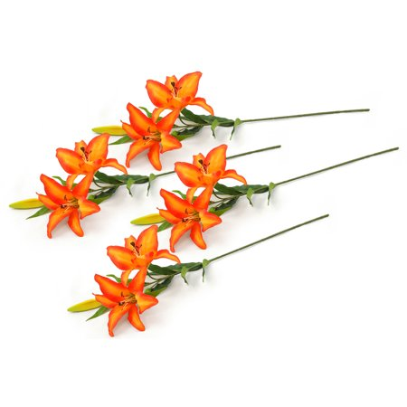 - Set of 4 Orange Striped Artificial Long Stem Tiger Lilies 30