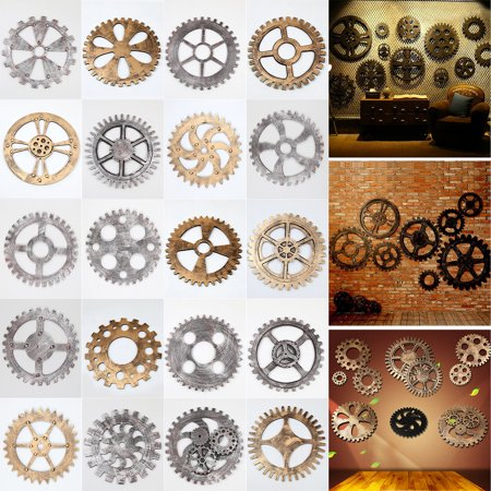 20 Styles Retro Vintage Wooden Art Gear Industrial Home Wall Hanging Decor Office Antique Antique Label Art