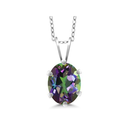 "2.30 Ct Oval Shape Green Mystic Topaz 925 Sterling Silver Pendant 18"" Chain"