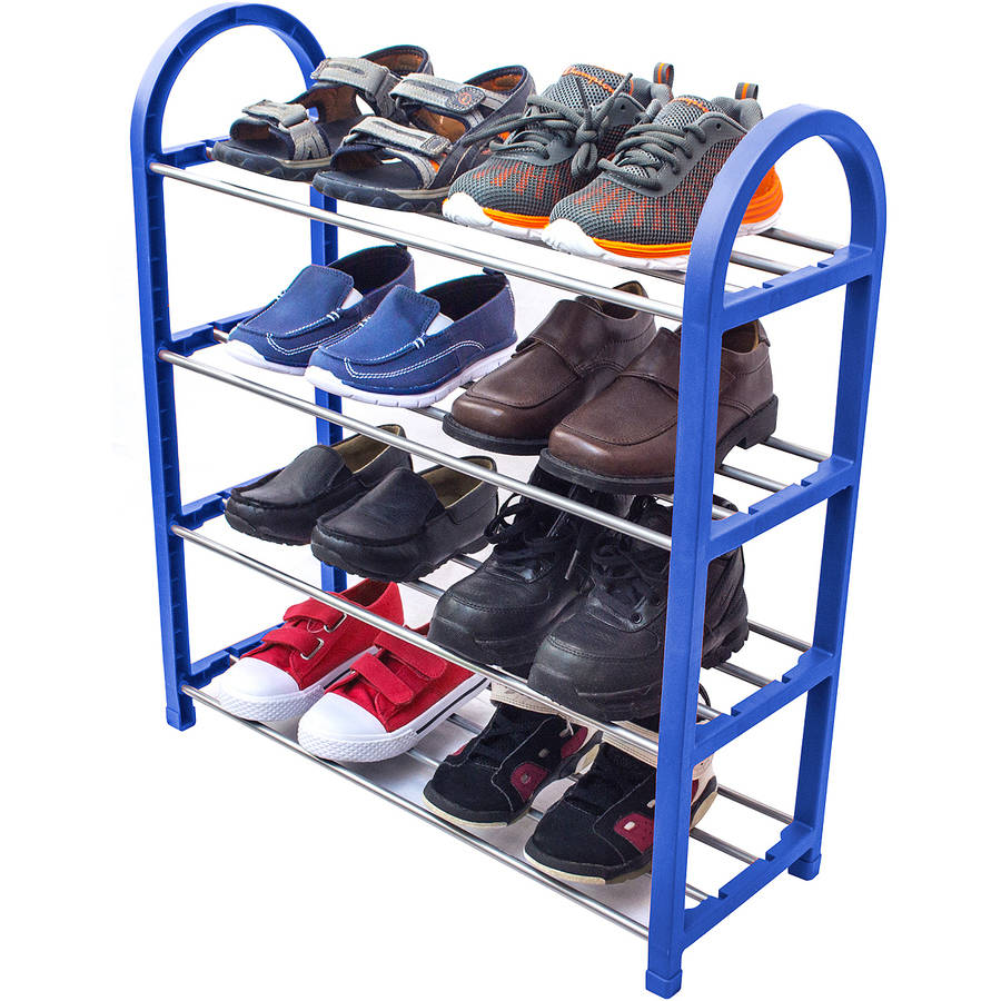 Sorbus Kid's Shoe Rack Junior Organizer Storage, 4 Levels for Shoes, Easy to Assemble, No Tools Required (Blue)