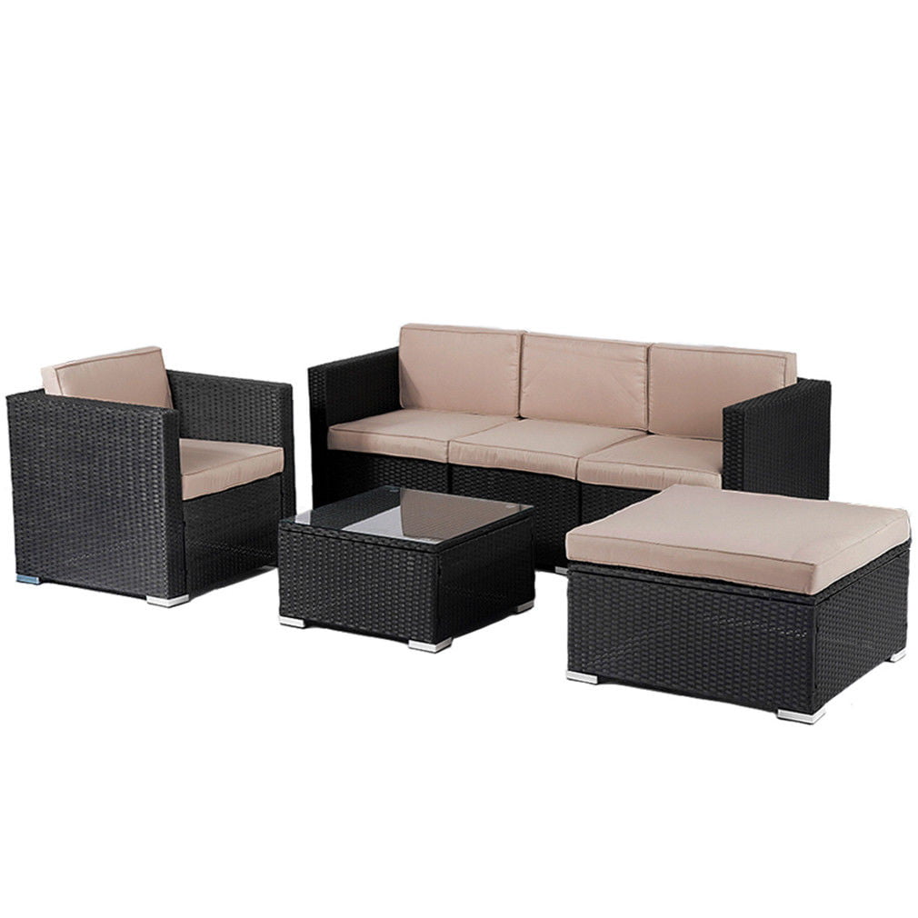 Patio furniture outdoor wicker rattan garden furniture set 6pcs sofa conversation set with cushions and tempered glass tabletop for yard walmart com