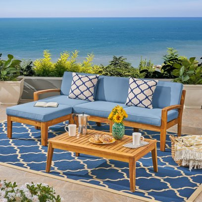 Wilcox Outdoor 5 Piece Acacia Wood Sectional Sofa Set with Cushions