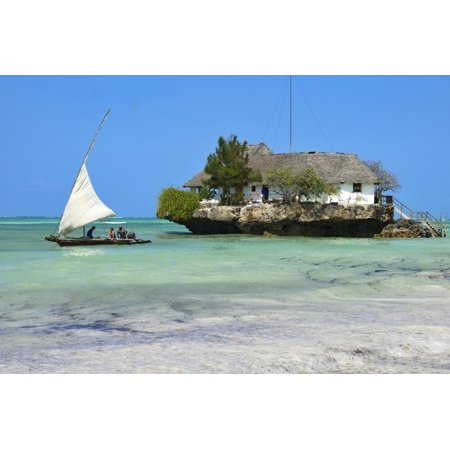 Traditional Rock (Tourist on a Traditional Dhow Boat, the Rock Restaurant, Bwejuu Beach, Zanzibar, Tanzania Print Wall Art By Peter Richardson )