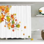 Fall Decorations Shower Curtain Image With Canadian Maple Leaves Botanical Warm To Cold Effects