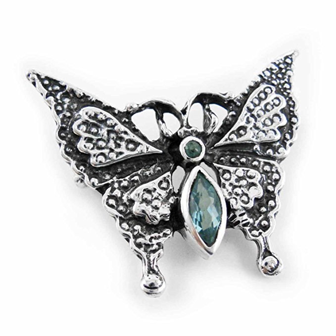 Sterling Silver Crystal Butterfly Pin, Aqua by