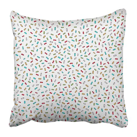ECCOT Scattered Confetti on White Colorful with Small Lines Abstract for Your Design Pillowcase Pillow Cover 18x18 inch