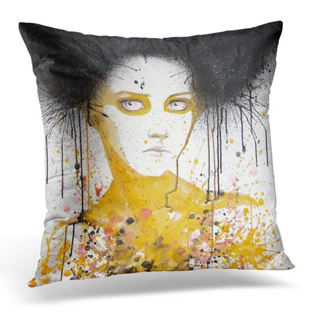CMFUN Yellow Modern Watercolor Portrait of Beautiful Girl Self Made Painting Face Pillows case 18x18 Inches Home Decor Sofa Cushion Cover