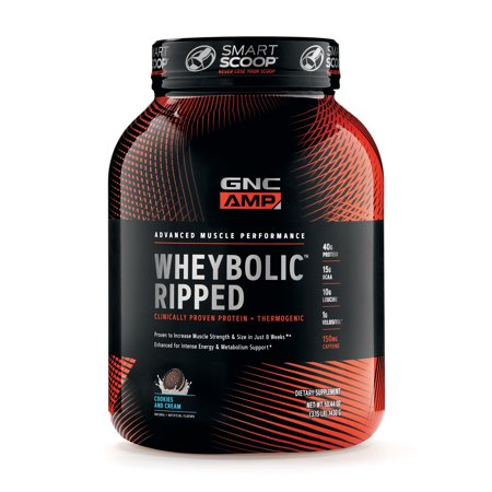 GNC AMP Wheybolic Ripped Whey Protein Powder, Cookies and Cream, 22 Servings, Contains 40g Protein and 15g BCAA Per (Gnc Whey Protein Vs On Whey Protein)