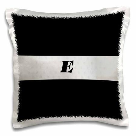 Painted Silver Monogram (3dRose Black n Silver Monogram Letter E - Pillow Case, 16 by)