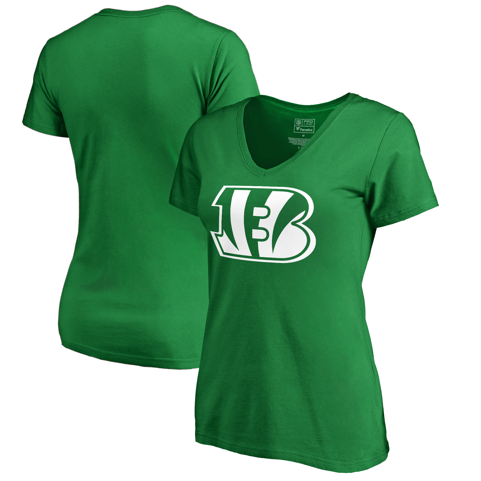 Cincinnati Bengals NFL Pro Line by Fanatics Branded Women's St. Patrick's Day White Logo T-Shirt - Kelly Green