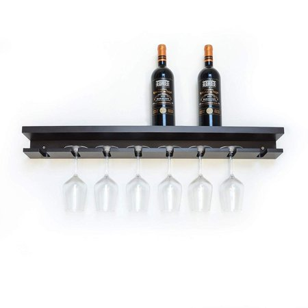 ORNO TTOBE 32 Inch Long Wall Mounted Floating Wine Rack & 8 Glass Holder, Espresso ()