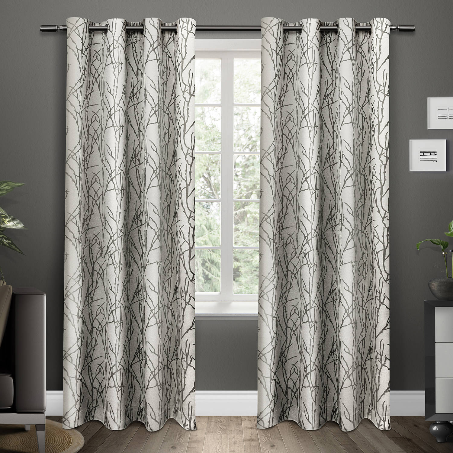 Branches Grommet Top Window Curtain Panels Black Pearl