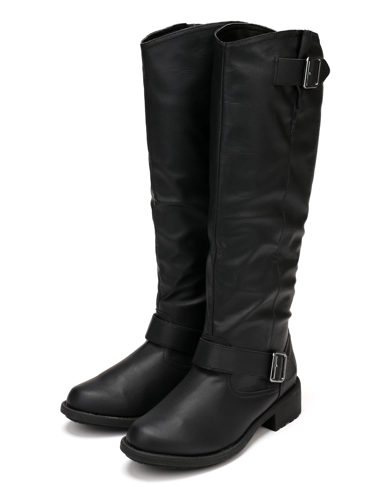 Qupid Relax-122 Leatherette Buckle Round Toe Riding Knee High Boot