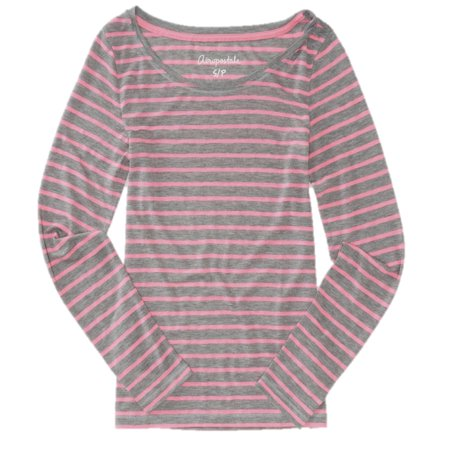 Aeropostale Womens Long Sleeve Basic Striped T-Shirt (Aeropostale Workout Clothes)