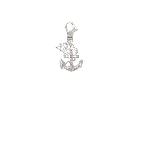 Silvertone AB Crystal Anchor - 2019 Clip on - Anchor Charms Bulk