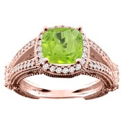 10K White Yellow Rose Gold Natural Peridot Cushion 8x8mm Diamond Accent 3 8 inch wide, size 5