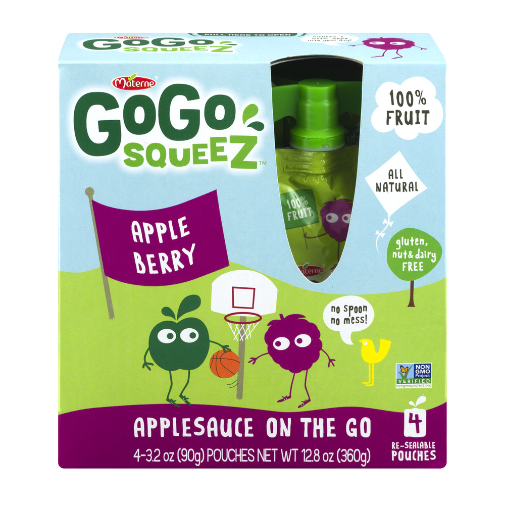 Materne GoGo Squeez Applesauce On The Go Pouches Apple Berry - 4 CT