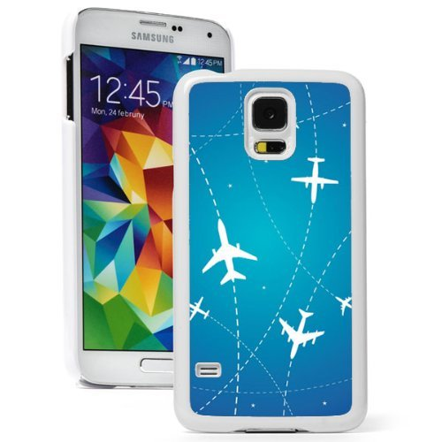 Samsung Galaxy (S5 Active) Hard Back Case Cover Airplane Routes and Stars on Blue (White)