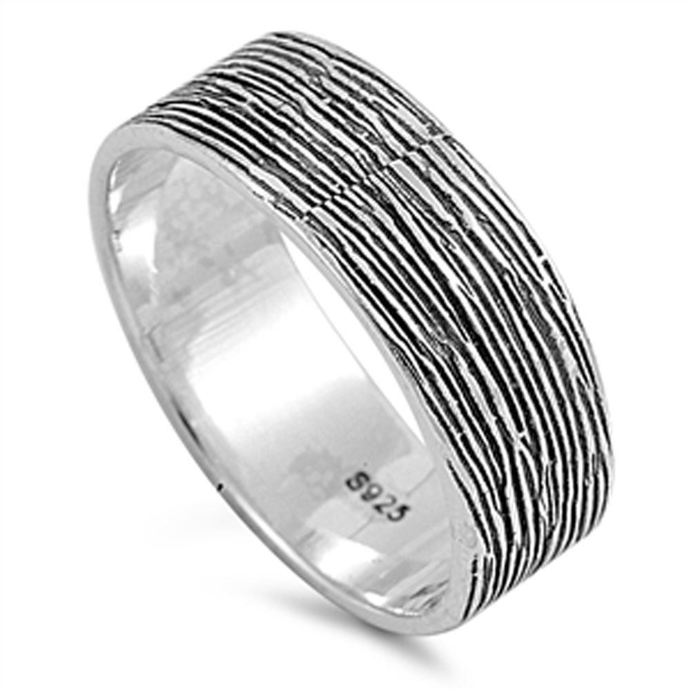 Mens Wood Grain Look Ring Sizes 5 6 7 8 9 10 New 925 Sterling