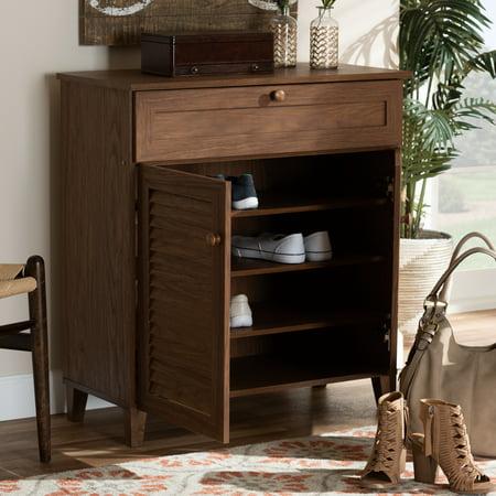 - Baxton Studio Coolidge Modern and Contemporary Walnut Finished 4-Shelf Wood Shoe Storage Cabinet with Drawer