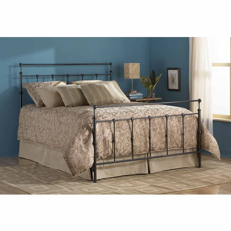 Winslow Metal Headboard and Footboard Bed Panels with Castings and Straight Top Rails, Mahogany Gold Finish, (Winsloh Metal Bed)