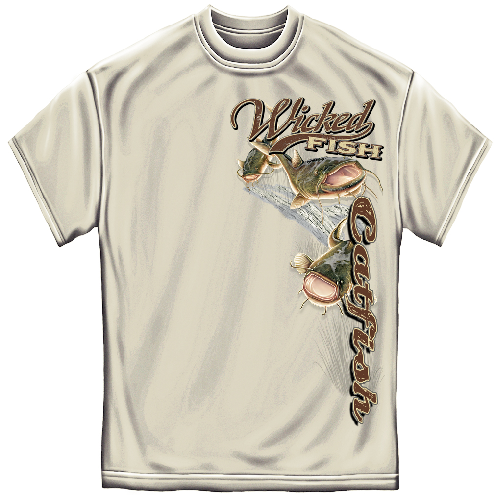 Wicked Fish Catfish Fishing T-shirt by , Sand
