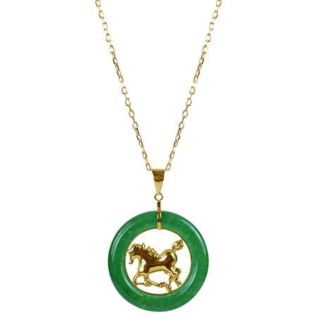 14k Yellow Gold Horse (14k Yellow Gold Green Chinese Jade 18-inch Zodiac Horse)