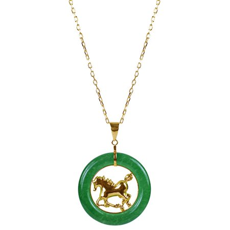 Jade Yellow Necklace - 14k Yellow Gold Green Chinese Jade 18-inch Zodiac Horse Necklace