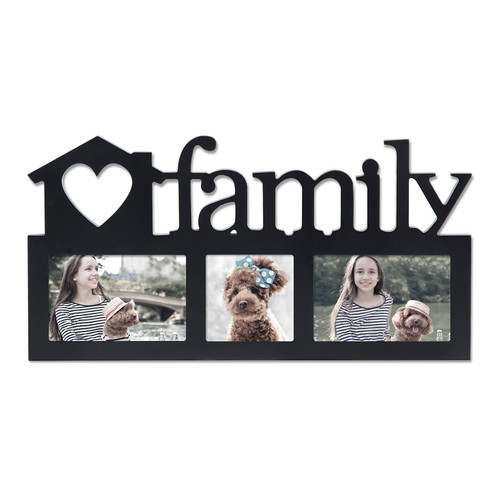 Adeco Trading 3 Opening Decorative ''Family'' Wall Hanging Picture Frame