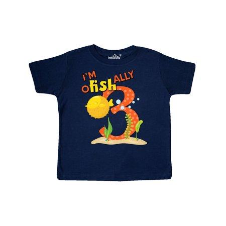 I'm O-Fish-Ally Three- cute puffer fish third birthday Toddler T-Shirt