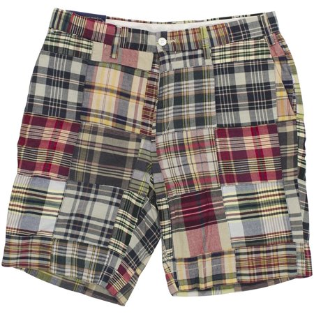 Polo Ralph Lauren Mens Madras Patchwork Classic-Fit Shorts Blue Red Multi Plaid](Plaid Madras Shorts)