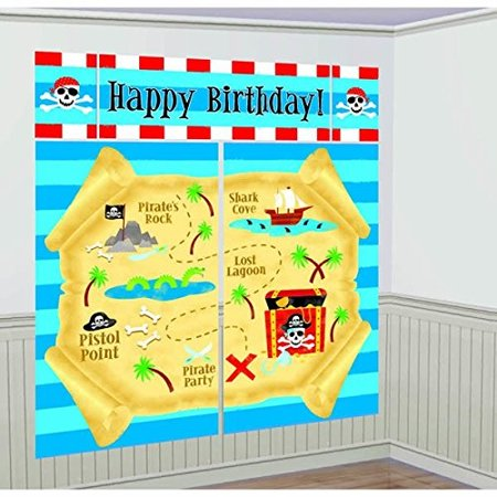 Pirate Party 'Pirates Treasure' Wall Poster Decorating Kit (5pc) - Kitchen Decorating Themes