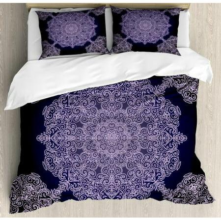 - Purple Mandala King Size Duvet Cover Set, Bohemian Floral Pattern with Continuous Round Mandalas Concept, Decorative 3 Piece Bedding Set with 2 Pillow Shams, Pale Mauve and Indigo, by Ambesonne