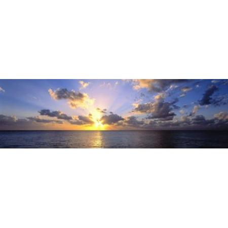 Sunset Cayman Islands - Sunset 7 Mile Beach Cayman Islands Caribbean Canvas Art - Panoramic Images (15 x 5)