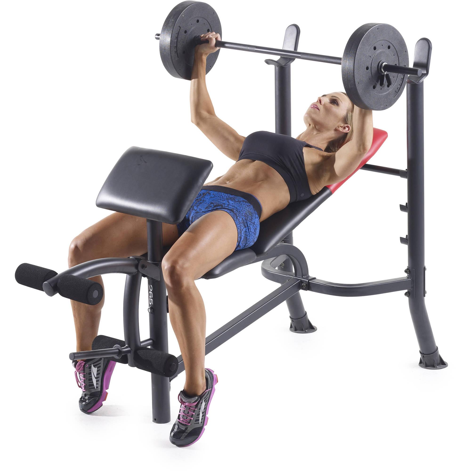 Free Weights Walmart: Weider Pro 265 Standard Bench With 80 Lb Vinyl Weight Set