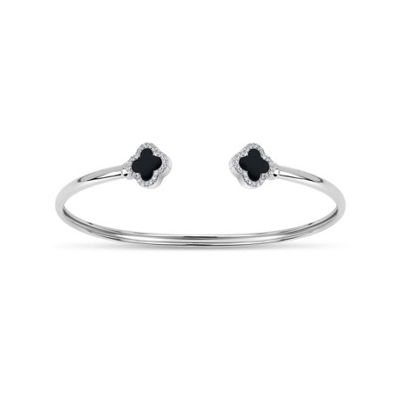 Black Onyx And Sterling Silver Bracelet (3mm Double Black Onyx and White Cubic Zirconia Sterling Silver Rhodium Plated Clover Memory Open Cuff)