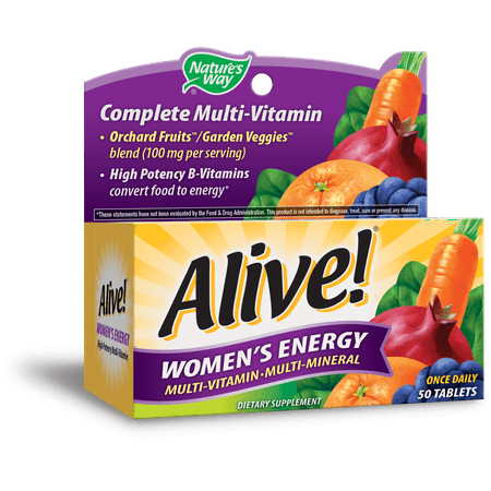 (2 pack) Nature's Way Alive! Women's Energy Multivitamin Supplement Tablets, 50 Count Day Energy Multi Vitamin
