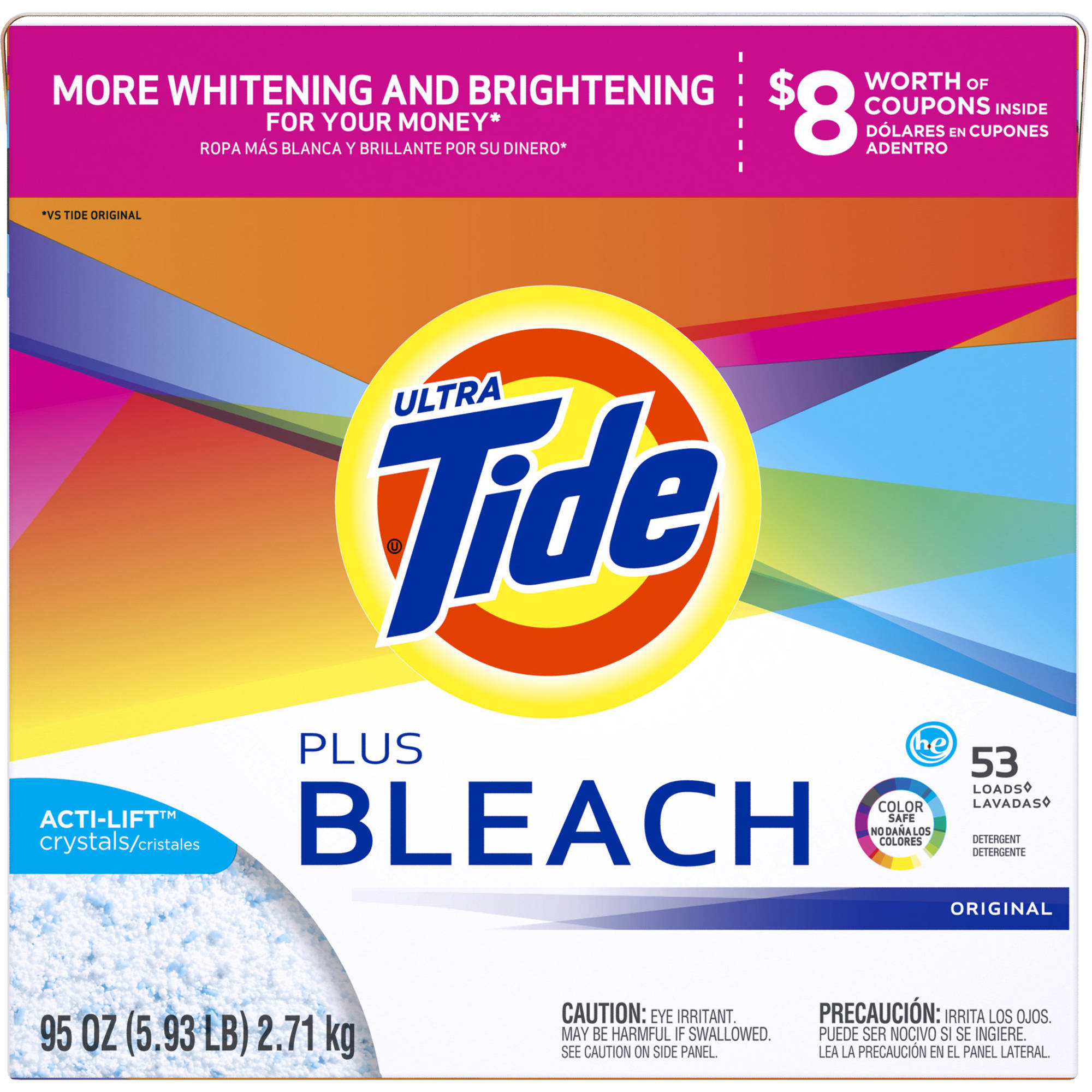 Tide with Bleach Alternative HE Turbo Powder Laundry Detergent, Original Scent, 53 Loads 95 oz